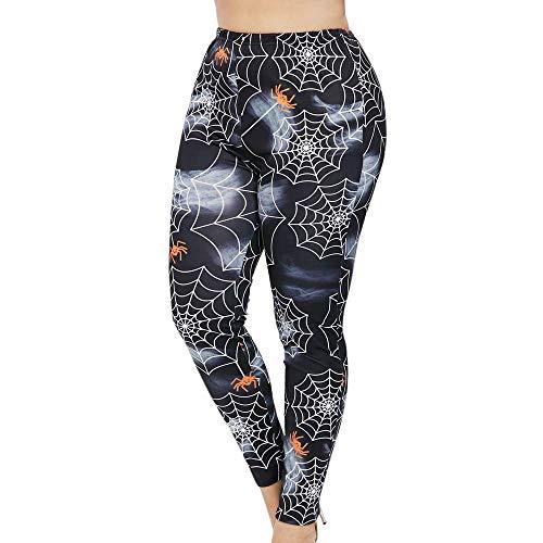MYMYG Jogginghose Frauen Plus Größe mittlere Taille Cobweb Print elastische Sporthose Hose Gedruckte drucken Stretchy Yoga Leggings Sporthose Enge Hose Sexy Skinny Sporttights