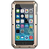 iPhone 7 8 Plus Case, LIGHTDESIRE Shockproof Anti-Skid Water Resistant Metal Aluminum Alloy Military Bumper Shell Cover Case for iPhone 7 8 Plus - Gold