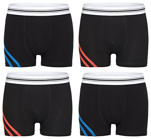 Kid's Fashion Lounge Jungen Boxershorts 'Reflexx', 4er Set aus Baumwolle in 4 trendigen Farben...