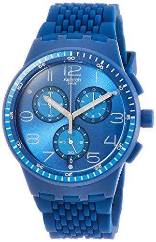 Swatch Unisex Erwachsene Chronograph Quarz Uhr mit Silikon Armband SUSN415 (Chrono Swatch Uhr)