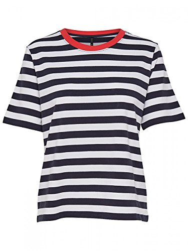 ONLY Damen T-Shirt Onllive Love Trendy Stripe SS Oneck NOOS, Mehrfarbig (White Stripes: Tiny Black), 34 (Herstellergröße: XS) (Shirt Stripe Black)