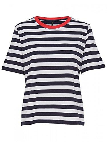ONLY Damen T-Shirt Onllive Love Trendy Stripe SS Oneck NOOS, Mehrfarbig (White Stripes: Tiny Black), 34 (Herstellergröße: XS) (Black Shirt Stripe)