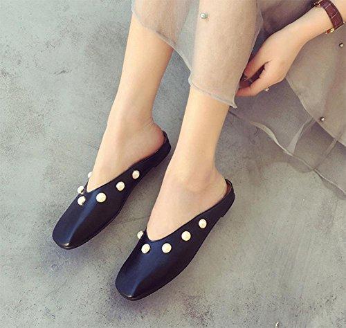 Wulstige flache Sandalen mit atmungsaktive Frauen Baotou Sandalen und Pantoffeln Schuhe Sommer Black