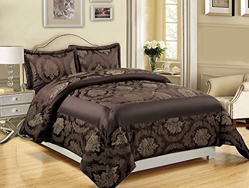 3-teiliges Luxus-Bettwäsche-Set, Jacquard, gesteppte Tagesdecke, Größe Doppelbett/King Size, Betty Chocolate, Super King ( 270 x 260 CM )