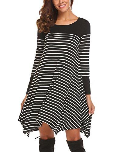 Chigant Damen Gestreift T-Shirt-Kleid Oversize Longshirt mit Rundhals Asymmetrischem Saum Für Hersbt Winter (Streifen-strickkleid)