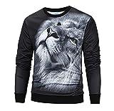 Luckycat Herren Casual 3D Druck Löwe Hip Hop Langarm Pullover Sweatshirt Top Bluse Mode 2018