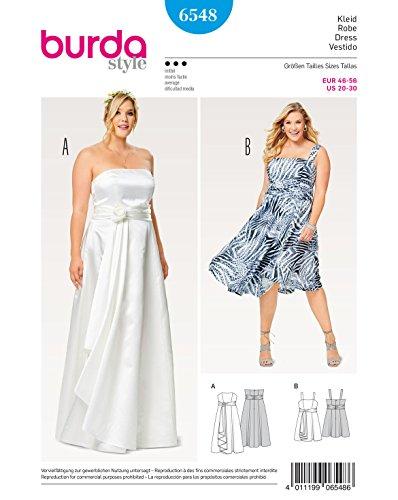 Burda 6548 Schnittmuster Kombination aus Brautkleid und Abendkleid (Damen, Gr. 44-56) Level 3 Mittel