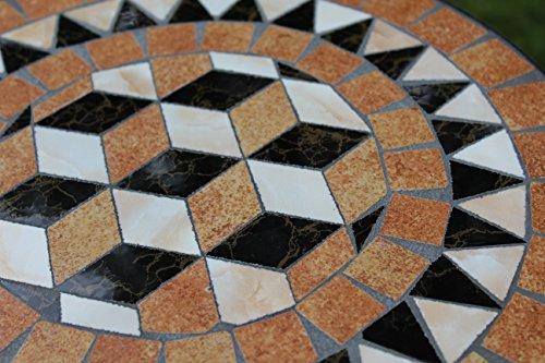 Kingfisher schwarz Mosaik-Effekt Beistelltisch Outdoor Garten Patio-Möbel Set - 3