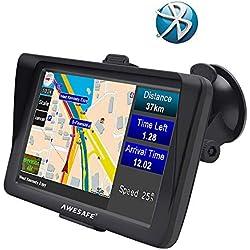 AWESAFE GPS para Coche de 7 Pulgadas con Bluetooth, Navegador GPS para Camión y Coche con Actualizaciones de Mapas de por Vida