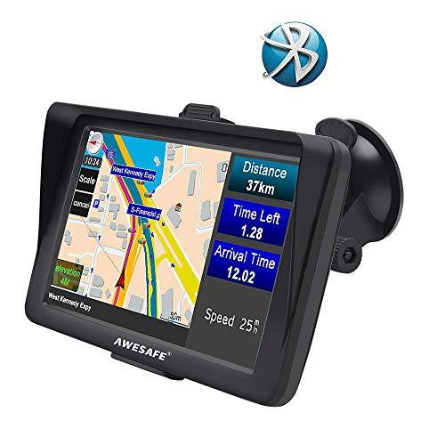 AWESAFE GPS para Coche de 7 Pulgadas con Bluetooth, Navegador GPS para...