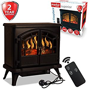 Marko Heating Electric Fireplace 1800W Double Door Fan Heater Flame Effect Wood Burner Stove