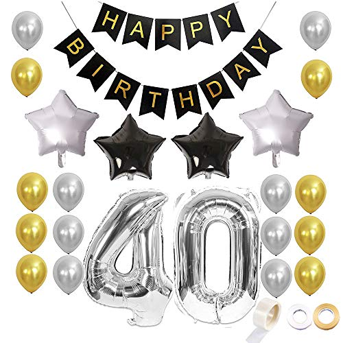 Juland 40. Geburtstag Luftballons Dekoration Happy Birthday Banner Party Zubehör Sets für Männer Boy Folienballons Gold Silber Schwarz Dekor mit Folienballon Star Latex Ballon