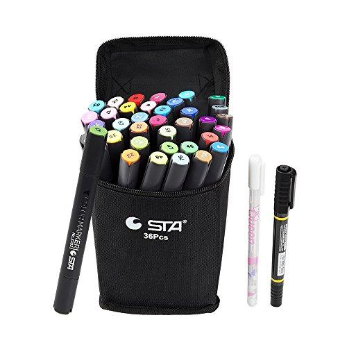 STA 36 Farben Dual Tips Kunst Grafik Zeichnung Malerei Marker Pen Set Wasserbasierte Bürste Render für Sketch Design Shade Illustrate Scribbling etc