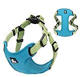 Kismaple Durable Nylon Hundegeschirr Weich Safe 3M Reflektierende Haustierhunde Brustgurt für klein / mittel / groß Nicht ziehen Weste Harness Draussen Gehen Ausbildung (S Chest (30-42cm), Blau)