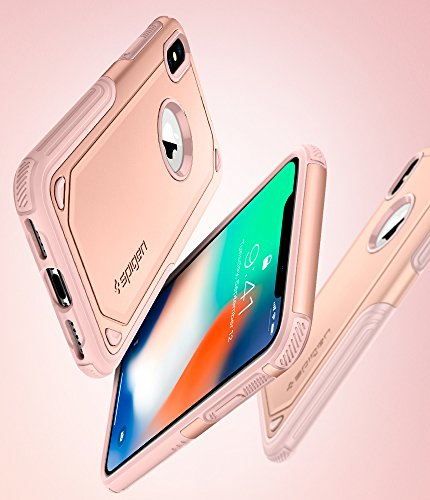 Cover iPhone X, Spigen [Hybrid Armor] Custodia iPhone X con tecnologia Air Cushion e protezione ibrida Drop per Apple iPhone X (2017) - Gunmetal - 057CS22350 Blush Gold