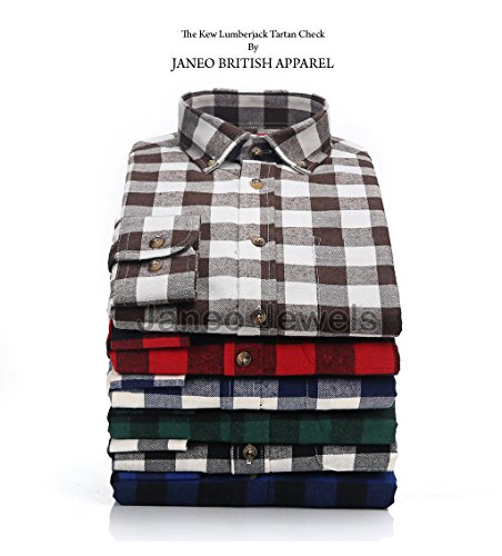 Long Sleeve Shirt Janeo British Apparel, Mens Lumberjack Plaid Buffalo Check, Light Brushed Cotton Mix, Brawny Tartan Style. Button Down Collar & Pocket Cowboy Rodeo Look. Smart Weekender or Causal.