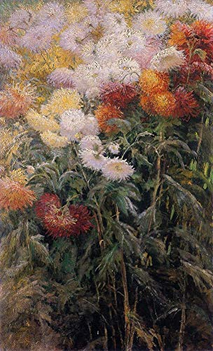 Toperfect 50€-2000€ Handgefertigte Ölgemälde - Büschel von Chrysanthemen Garten in Petit Gennevilliers Impressionisten Gustave Gemälde auf Leinwand FRIM3 - Malerei Maße08 -