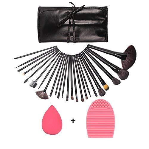 GUSODOR Ensemble de pinceau de maquillage 24Pcs Ensemble de pinceaux de maquillage ensemble cosmétique multifonction pour la poudre et les produits cosmétiques-Noir