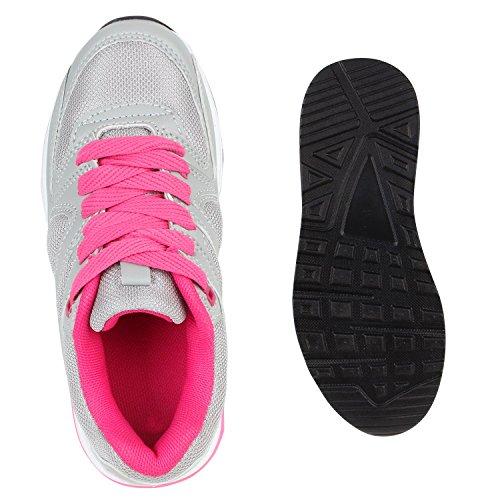Kinder Sportschuhe Profilsohle Laufschuhe Bequem Schnürer Hellgrau Pink Berkley