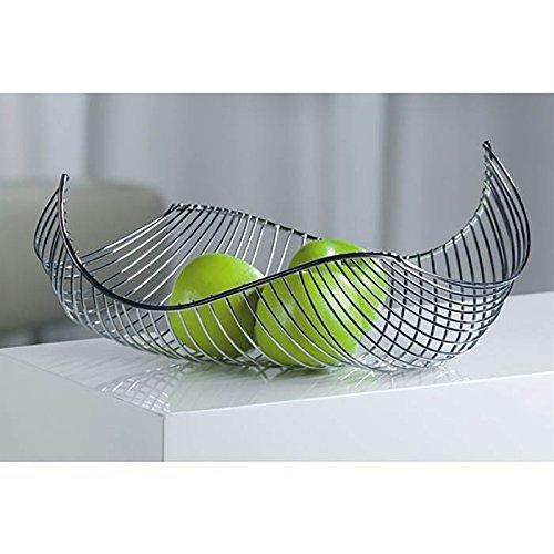 Designer-Obstkorb Früchtekorb Obstschale Salomon aus Metall silber verchromt 37 x 16 x 27 cm