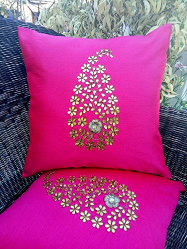 EXCLUSIVE, BRANDED & EXOTIC OFFER! Golden Leaf (Gotta Pati) Hand Embroidery MAGICAL MAGENTA Cushion Covers (Set of 2) (16