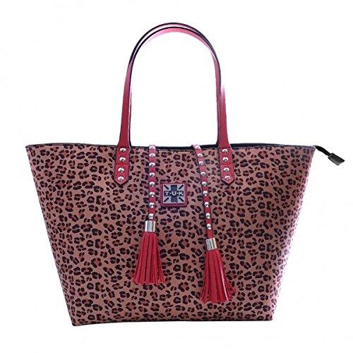 T.U.K. Shoes Leopardo Rojo Microfibra Stud Borla Bolsa Mujeres OS
