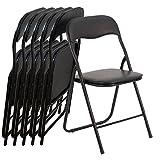 EGLEMTEK Set von 6Klappstühle Slim Matt aus Metall–Stuhl für Büro Haus Camping mit Bequemer Sitz Gepolstert–(78x 45x 45cm)