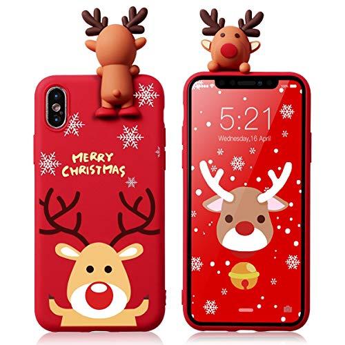 Yoedge für Apple iPhone 7/8 Hülle, 3D Karikatur Puppe Rot Silikon TPU Weihnachten Schutzhülle [Slim Stoßfest] mit Cartoon Tiere Muster Motiv Handyhülle Soft Case Cover für iPhone7, Hirsch 3