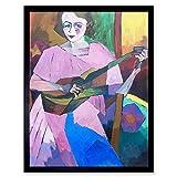 Wee Blue Coo Lentulov Woman Guitar Painting Wall Art Print Mur Encadré Décor 30 x 41 cm