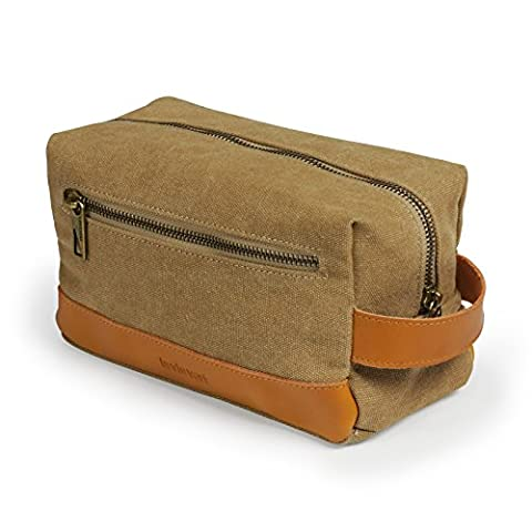 Lavievert Vintage Toiletry Bag, Cosmetic Bag, Shaving Kit Bag, Portable Travel Organizer, With Handle, Suitable for Travel, Business &
