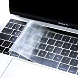 MOSISO AZERTY Protection Clavier Compatible MacBook Pro 13/15 Pouces Touch Bar 2018 2016 A1989/A1706 / A1990/A1707 Premium Qualité Ultra Slim Protège Clavier (EU Layout), TPU Transparant/Clair