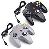 iNNEXT 2x USB para Nintendo 64 N64 Control Gamepad Joystic Mando de juegos para PC Mac Windows (Gris/Noir x 2)