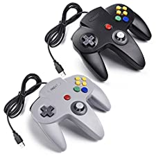 iNNEXT 2x USB para Nintendo 64 N64 Control Gamepad Joystic Mando de juegos para PC Mac Windows (Gris/Noir x 2)