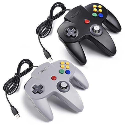 iNNEXT 2x USB N64 Bit 64 Controller Joystick GamePad für Windows PC Mac Raspberry pi3 Retro pie (Grau/Schwarz)