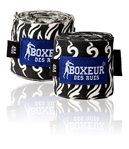Boxeur Des Rues Fight Activewear Fasce per le Mani Semi-rigide, Black Tribal, Taglia Unica