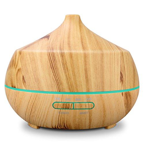Bade-Öl Flasche (Aroma Diffuser 400ml Tenswall Luftbefeuchter Oil Düfte Humidifier Holzmaserung LED mit 7 Farben für für Yoga Salon Spa Wohn-, Schlaf-, Bade- oder Kinderzimmer Büro)