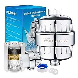 WinArrow Filtre à douche - Puissant Cartouche de Filtre Remplaçable, Empêche les Cheveux et la Peau de Sécheresse, Supprimer le Chlore, le Métal Lourd - Bandes de Téflon Gratuites