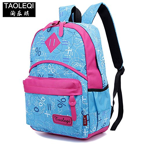 Versione coreana di borsa a tracolla in tela di simboli di Matematica gli studenti nello zaino grande capacità moda borse da viaggio, marrone Red