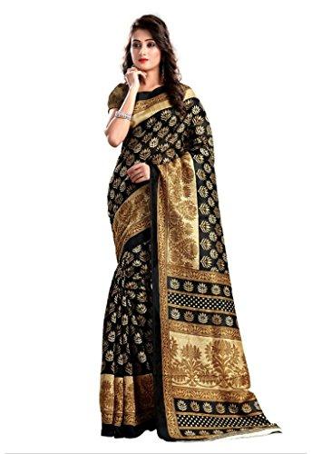 ISHIN Bhagalpuri Art Silk Black & Beige Printed Women's Saree.  available at amazon for Rs.299
