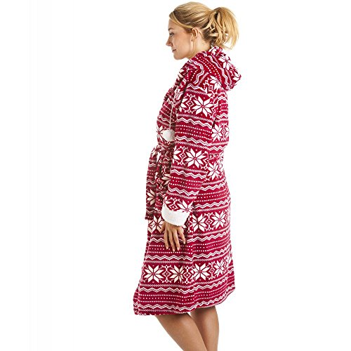 Peignoir à capuche - toucher soyeux - motif nordique - rouge/blanc Rouge