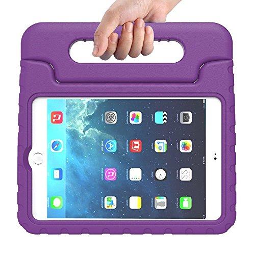 Preisvergleich Produktbild Kinder Hülle für iPad Mini 4, CAM-ULATA EVA Stoßfest Leichtgewicht Kinderfreundlich Griff Schutzhülle Standhülle Für iPad Mini 4 2015 Tablette, Violett