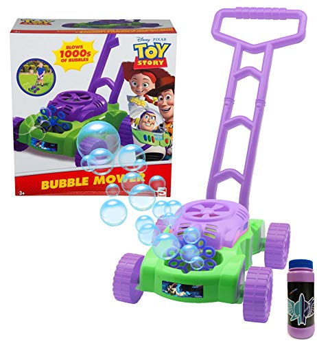 Disney Cortacesped De Juguete con Burbujas De Toy Story Empuje El Cortacésped para Niños De Buzz Lightyear Y La Máquina Motorizada De Burbujas | Solución De Jabon Incluida | A Partir De 3 Años