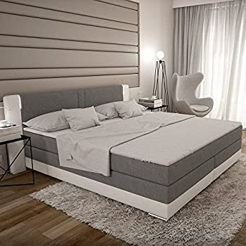 bargo boxspringbett 180x200 cm grau wei es polster bett in stoff kunstleder kombi mit. Black Bedroom Furniture Sets. Home Design Ideas