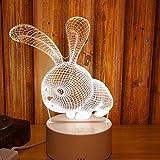 Luci notturne Piedi tre letti Rituale Tre sogni D Luce creativa Spazio ventilatore Latte Sonno Lampada Alimentazione Diapositiva Testa, piccolo coniglio bianco (luce tricolore)