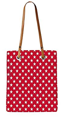 Snoogg White Stars Red Pattern Womens Digitally Printed Utility Tote Bag Handbag Made Of Poly Canvas With Leather Handle