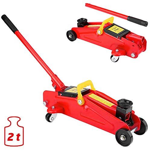Bakaji cric sollevatore idraulico per auto a carrello martinetto meccanico crick con ruote portata 2t metallo rosso (rosso)