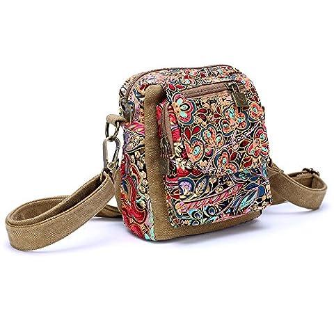 Dopobo High Quality Retro Bohemian Style Vintage Lady Women's Shoulder Bag Chest Bag Bosom Canvas Printed Bags Travel Money Holiday Sports Cross Body Messenger Bag Satchel - 15cm(Length) x 16cm(Height) x 8cm(Width) (Version 08 Khaki)