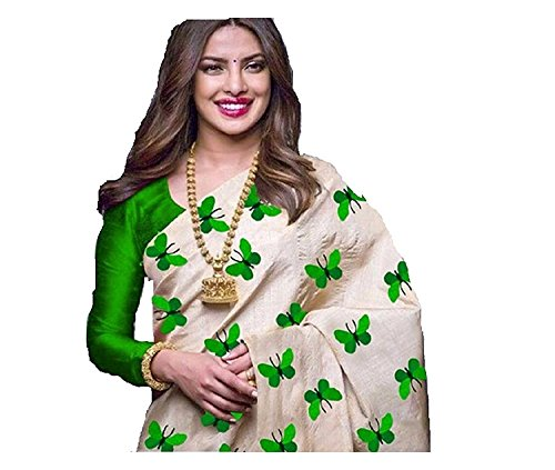 Pure Chanderi Cotton Embroidered Butterfly work Beige and Parrot Color Saree with...