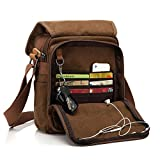 CHEREEKI Messenger Bag [Nuovo Arrivo], Multiple Pockets Canvas Bag Borsa Vintage da Uomo Messenger Bag Casual Sling Shoulder Pack Croce Body Satchel per lavoro, Scuola. (Cachi)
