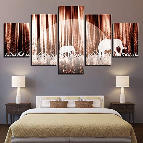 alicefen Lienzo HD Imprime Fotos Decoración de la Sala 5 Unidades Bosque...